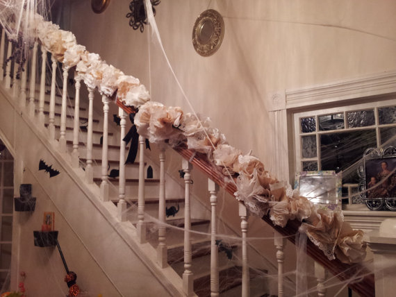 Elegant holiday banister decor urbane design studios for How to decorate a banister